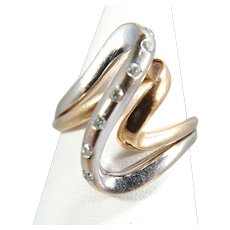 Modernist ring 18K solid gold Natural diamonds Stamped French fine gold ring