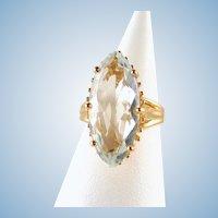 Estate 18K solid gold ring with impressive aquamarine Natural gemstone