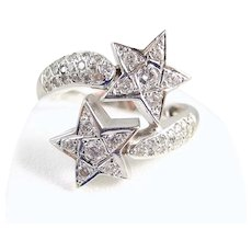Stunning natural diamond crossover star ring in 18K solid gold Stamped celestial hefty Toi et Moi