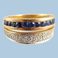 Retro period 18K solid gold double ring Stamped natural sapphire and diamond band French fine dual ring