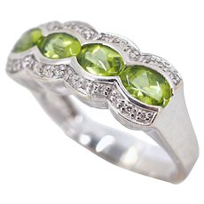 Natural peridots and brilliant cut diamonds 18K solid gold ring Stamped Fine French gold band