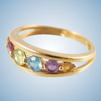 18K solid gold multiple fine natural gemstones ring Stamped multicolor gem band