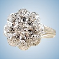 18K solid white gold ring Natural diamonds festooned band Daisy shaped fine gold