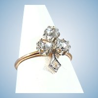 Elegant clover leaf design Beautiful 0.63cttw diamond ring on 18K solid gold Stamped French fine gold