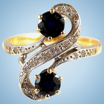 Sapphire and diamond Art Nouveau crossover 18K solid gold Stamped fine gold jewelry Toi et Moi ring Bridal jewelry
