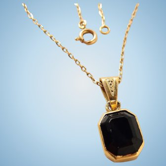 Antique onyx pendant 18K solid gold chain Stamped gold necklace Fine French gold jewelry