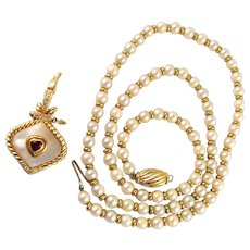 Estate pearl necklace with alternating 18K solid gold beads Removable pendant with natural ruby and diamond