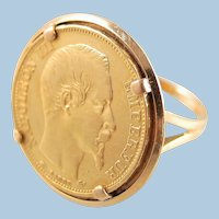 France's Napoléon III solid gold ring 750 and 900mil Extra large 20 francs coin Stamped French Empire 1858