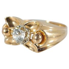Charming Retro bridge ring 18K solid gold French stamped gold chevalière Deco art period