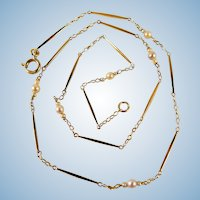 Retro necklace 18K solid gold Cultured pearls choker Stamped fine gold jewelry