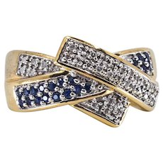 Estate triple band 18K solid gold Sapphires and diamonds Stamped crossover French fine gold ring