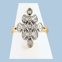 Geometric 18K solid white and yellow gold ring with natural round cut diamonds Stamped French fine gold jewelry