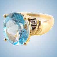 Stunning 18K solid gold and natural topaz ring Diamond enhancement Stamped fine gold jewelry