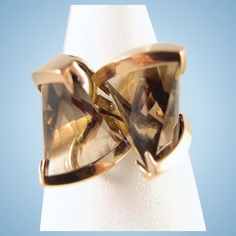 Geometry expanded in this Amazing abstract ring 18K solid gold and smoky quartz Fine  gold jewelry