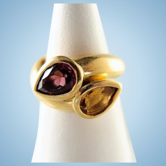 18K solid gold crossover ring Natural citrine and tourmaline Massive Retro estate gold ring