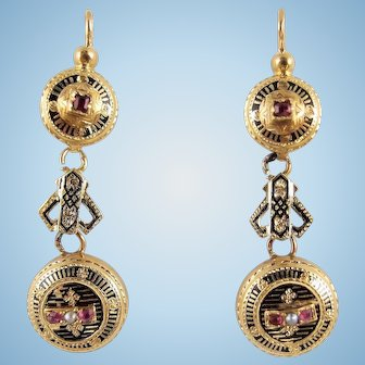 Early 19th century 18K solid gold danglers Napoleon III stamped gold drops Taille d'épargne enamel Pearl earrings