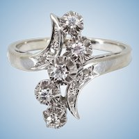 Estate 18K solid white gold Natural old European and rose cut diamonds Stamped Fine French gold jewelry