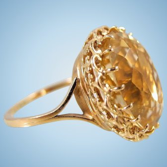 Extra large Massive natural citrine 18K solid gold stamped French Mid Century ring Sophisticated basket