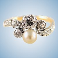 Art Nouveau ring in 18K solid gold 0.53cttw Natural diamond One natural pearl French stamped fine gold jewelry