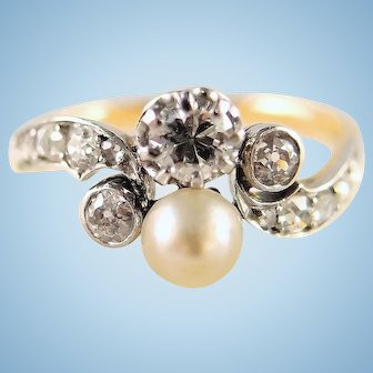 Art Nouveau ring in 18K solid gold 0.53cttw Natural diamond One natural pearl French stamped fine gold jewery