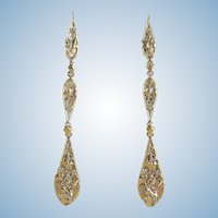 Extra long danglers 18K solid gold Art Nouveau Bacchus design earrings Stamped French gold drops