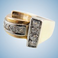 Estate Roaring Twenties 18K solid gold Platinum Diamond ring Stamped jewelry Great Gatsby Diamonds chevalière