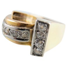 Estate Roaring Twenties 18K solid gold Platinum and diamond ring Stamped fine jewelry Great Gatsby natural diamonds chevalière