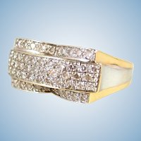 Pavé diamond chevalière  solid gold band with diamonds Stamped French jewelry
