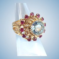 Splendid massive aquamarine and halo ruby ring in 18K solid gold Stamped Fine gold French jewelry