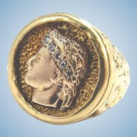 Estate 18K solid gold Greek heavy signet ring Handsome young man portrait with brilliant cut diamonds
