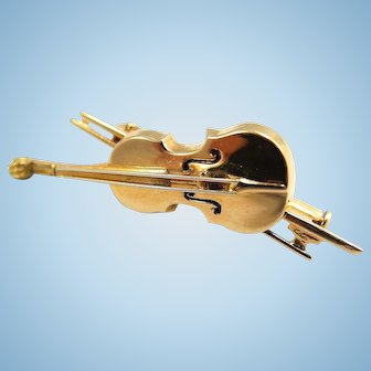 Estate 18K solid gold violin brooch 3D musical instrument 39mm stamped gold pin Excellent