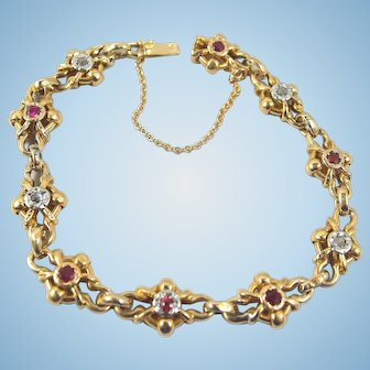Art Nouveau stamped 18K solid gold bracelet with rose cut diamonds and red tourmaline Fancy chain links Security