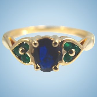 Attractive 18K solid gold ring with sapphire and emeralds Stamped fine French gold band natural gemstones
