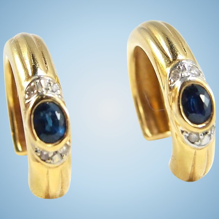Attractive Solid Gold Hoop Earrings With Shire And Diamond 18k
