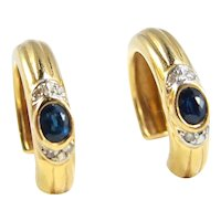 Attractive solid gold hoop earrings with sapphire and diamond 18K solid gold
