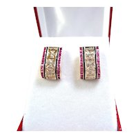 Stunning estate solid gold earrings with rubies and brilliant cut diamonds Fine gold huggy hoop earrings
