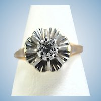Quality old European cut diamond solitaire cathedral set Fluted base Stamped bicolor 18K solid gold