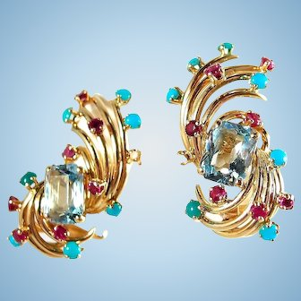 Large heirloom quality 18K solid gold clips wih natural aquamarine turquoise ruby and chalcedony accents Hallmarks