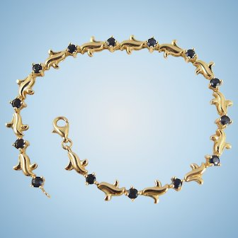 Attractive 18K solid gold bracelet with natural sapphires Stamped French fine gold jewelry