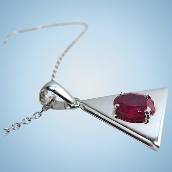 Modernist necklace with natural ruby 18K solid bright polished white gold triangle pendant Square cable chain