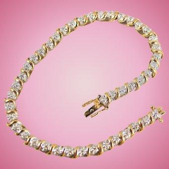 Estate elegant linear bracelet 18K solid gold tennis bracelet 44 brilliant cut diamonds Stamped