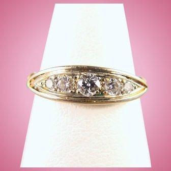 Exquisite 18K solid gold and diamond band 5 brilliant cut premium quality diamond ring Art Nouveau bridal jewelry