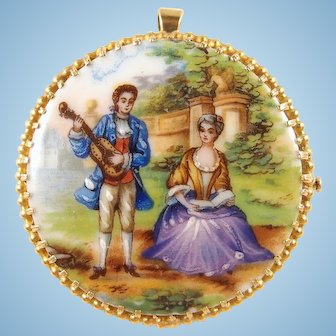 Massive Limoges porcelain brooch or pendant Elaborate 18K solid gold frame Stamped