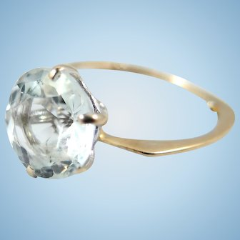 Superior vintage aquamarine solitaire ring in 18K solid white gold Stamped fine gold jewelry