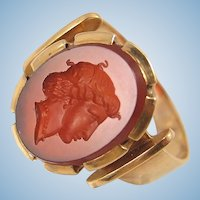 Antique 18K solid gold intaglio ring Carnelian gold portrait signet ring Wax seal Stamped Fine gold jewelry