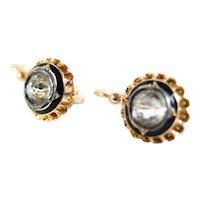 Rare antique 18K solid gold sleeper earrings Georgian era enamel white quartz Hallmarked