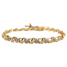 Estate 18K solid gold bracelet with brilliant cut diamonds Linear Vintage French stamped