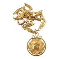 Genuine Art Nouveau Gallia 18K solid gold Pocket Watch Fob Chain, Signed and hallmarked