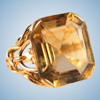 Massive cocktail ring in 18K solid gold Stamped Retro huge citrine statement ring