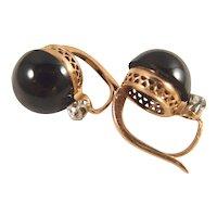 Victorian era  18K solid gold sleeper earrings with old European cut diamond